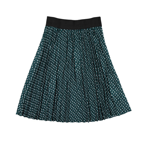 Ava and Lu Green Print Pleated Skirt