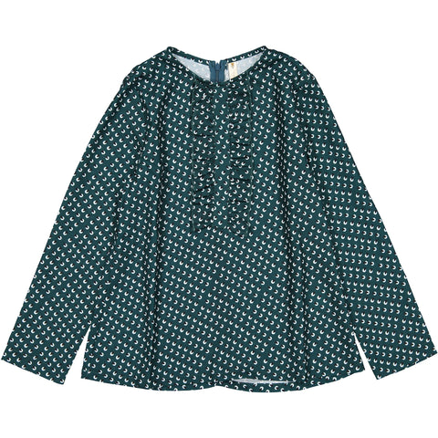 Ava and Lu Green Print Ruffle Blouse