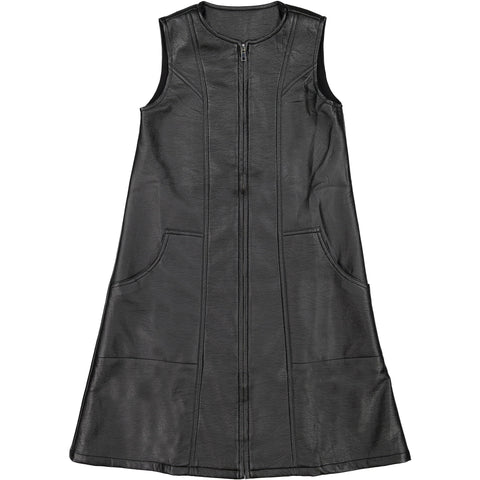 Ava and Lu Black Leather Zip Long Vest