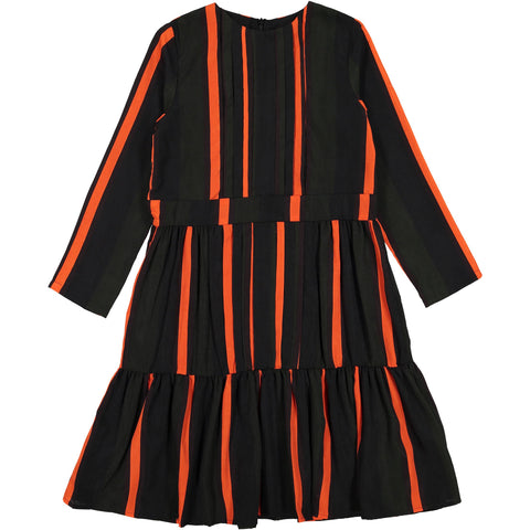 Ava and Lu Black/Red Stripe Pleated Tiered Dress