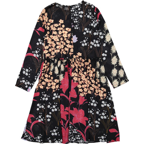 Ava and Lu Black Floral Gathered Waist Dress