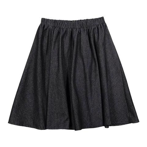Ava and Lu Black Denim Flair Skirt