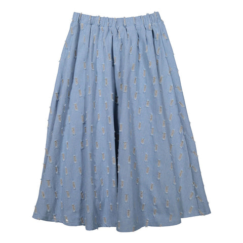 Ava and Lu Distressed Denim Maxi Skirt