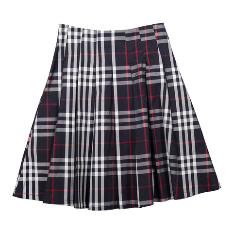 Ava and Lu Navy Plaid Pleated Skirt