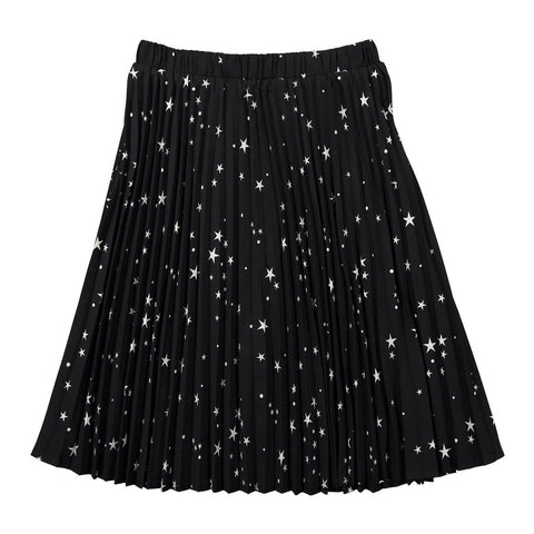Ava and Lu Black Star Pleated Skirt