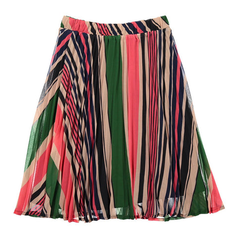 Ava and Lu Multicolored Stripe Pleated Skirt