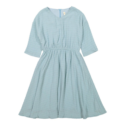 Ava and Lu Aqua Waisted Crepe Dress