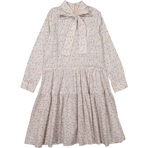 Ava and Lu Baby Pink Floral Collar Tie Dress