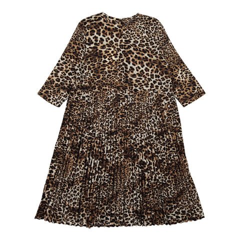 Ava and Lu Leopard High Waisted Pleat Dress