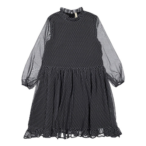 Ava and Lu Navy Mini Stars Frilled Hem Dress