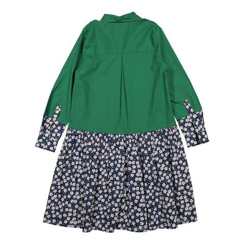 Ava and Lu Green/Floral Shirt Dress