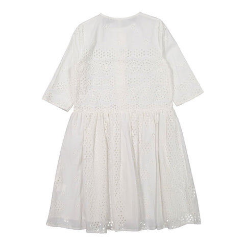 Ava and Lu Cream Eyelet Buttons Dress
