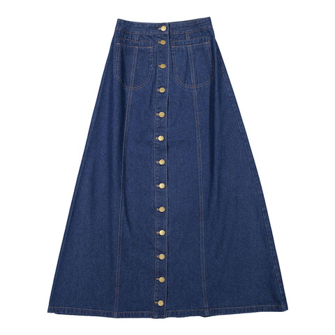 Ava and Lu Dark Denim Buttons Skirt