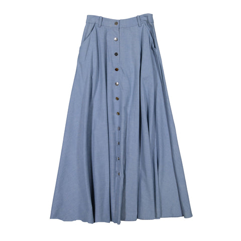 Ava and Lu Light Denim A-line Buttons Skirt