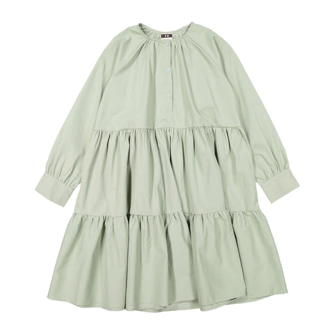 A4 Mint Green Buttons Tiered Dress