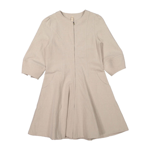 Ava and Lu Beige Flax Zip Dress