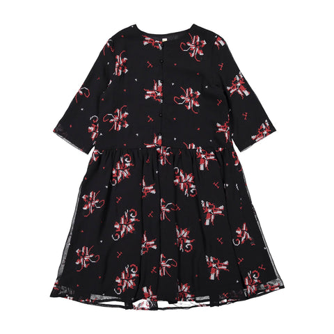 Ava and Lu Black Red Embroidered Dress