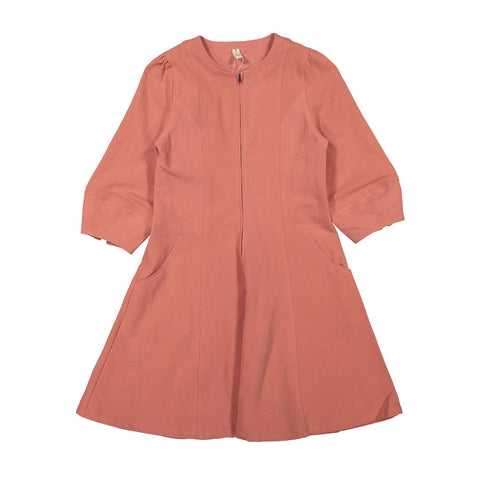 Ava and Lu Rust Flax Zip Dress