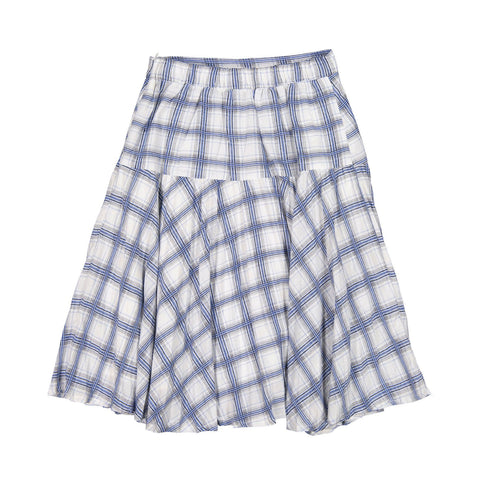 Ava and Lu Blue Plaid Dropwaist Pleat Skirt p1140
