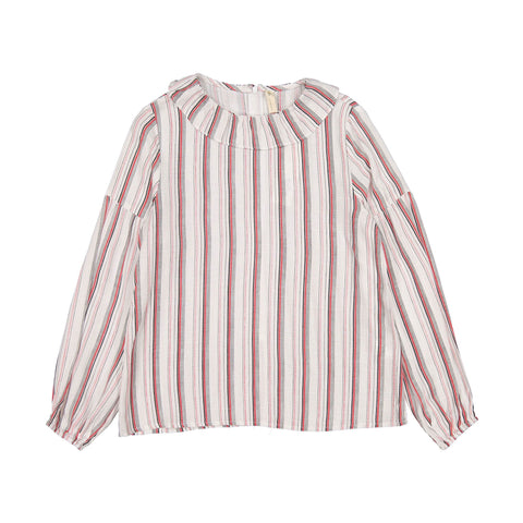 Ava and Lu Red Stripe Blouse