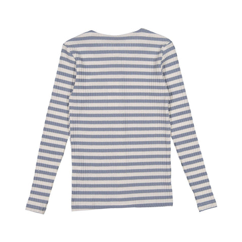 Ava and Lu Light Blue Striped Button Sweater Tee