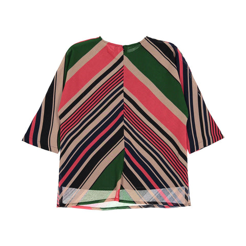 Ava and Lu Multicolored Stripe Blouse