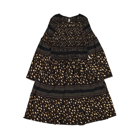 Ava and Lu Leopard Mixed Print Smocked Dress