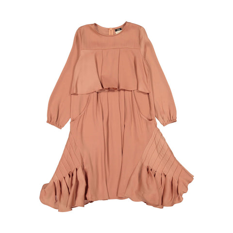 A4 Salmon Silk Pleated Full Detail Dress