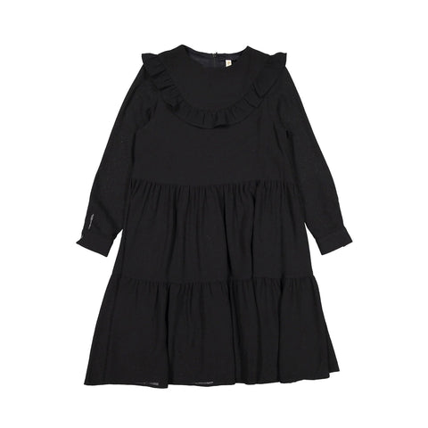 Ava and Lu Black Tiered Yoke Ruffle Dress