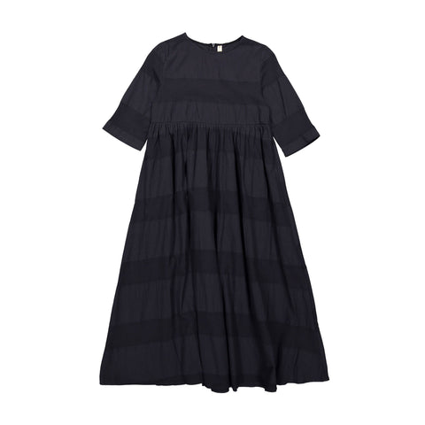 Ava and Lu Navy Textured Stripe Maxi Dress