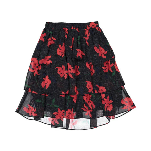 Ava and Lu Black/Red Flowers Layered Skirt