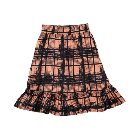 Ava and Lu Peach Plaid Ruffle Skirt