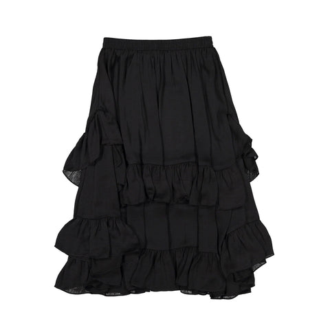 Ava and Lu Black Silky Ruffle Layered Skirt
