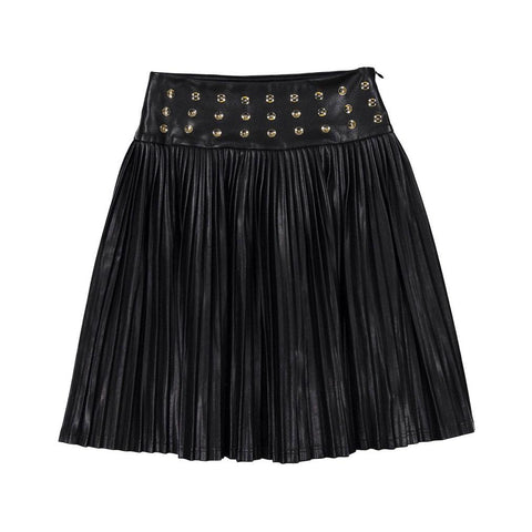 Ava and Lu Black Leather Drop Pleated Skirt