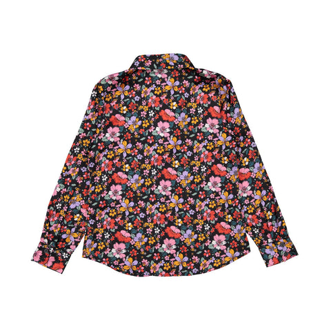 Ava and Lu Red Floral Silky Blouse