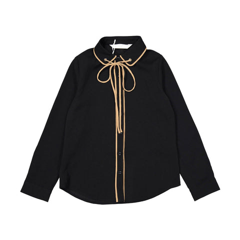 A4 Black Trimmed String Tie Blouse