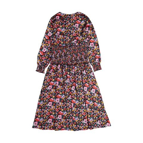 Ava and Lu Red Floral Smocked Waist Dress