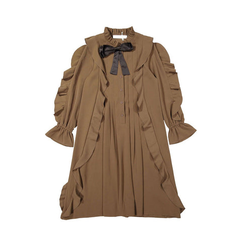 A4 Coffee Ruffle Sleeves Dress
