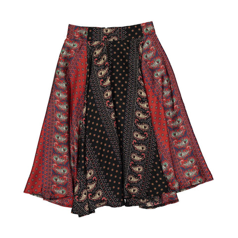 Ava and Lu Red Paisley Mixed Print Flair Skirt