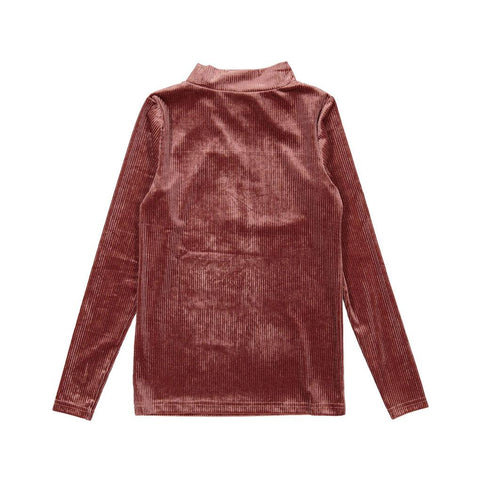 Ava and Lu Pink Lurex Velvet Turtleneck