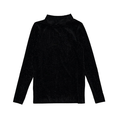 Ava and Lu Black Lurex Velvet Turtleneck