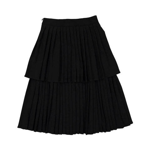 Ava and Lu Black Double Pleated Skirt