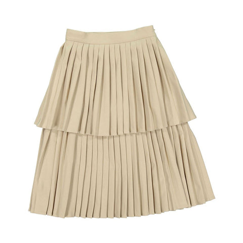 Ava and Lu Beige Double Pleated Skirt