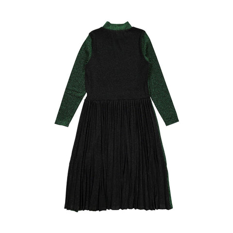 Ava and Lu Green Lurex Pleaded Midi Dress