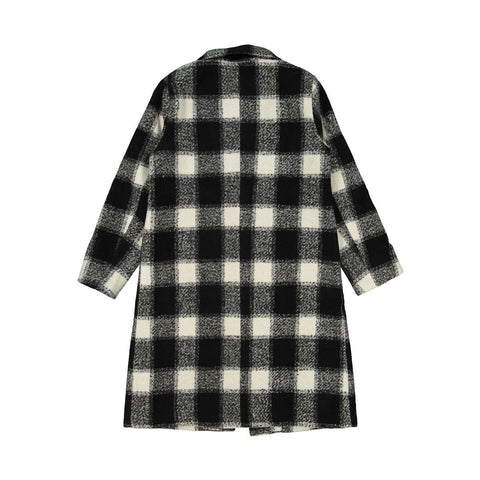 Ava and Lu Black Plaid Wool Coat