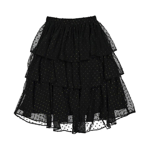 Ava and lu Black Gold Dots Layered Skirt