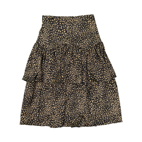 Ava and Lu Leopard Silk Layered Skirt