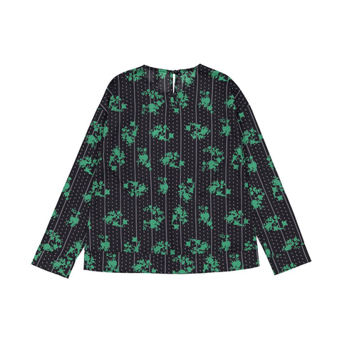 Ava and Lu Green Floral Pocket Blouse