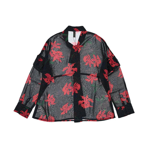 Ava and Lu Black/Red Flowers Blouse