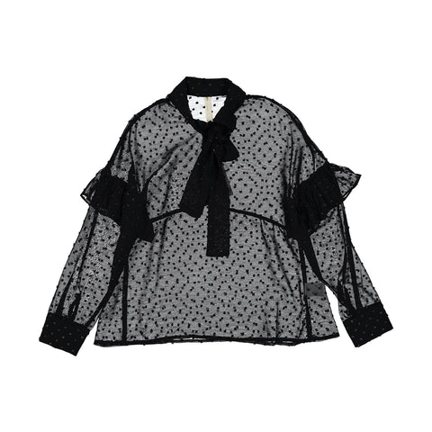 Ava and Lu Black Gold Dot Blouse